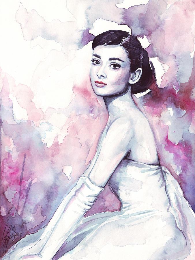 Fashion Watercolor Painting - Audrey Hepburn Purple Watercolor Portrait by Olga Shvartsur