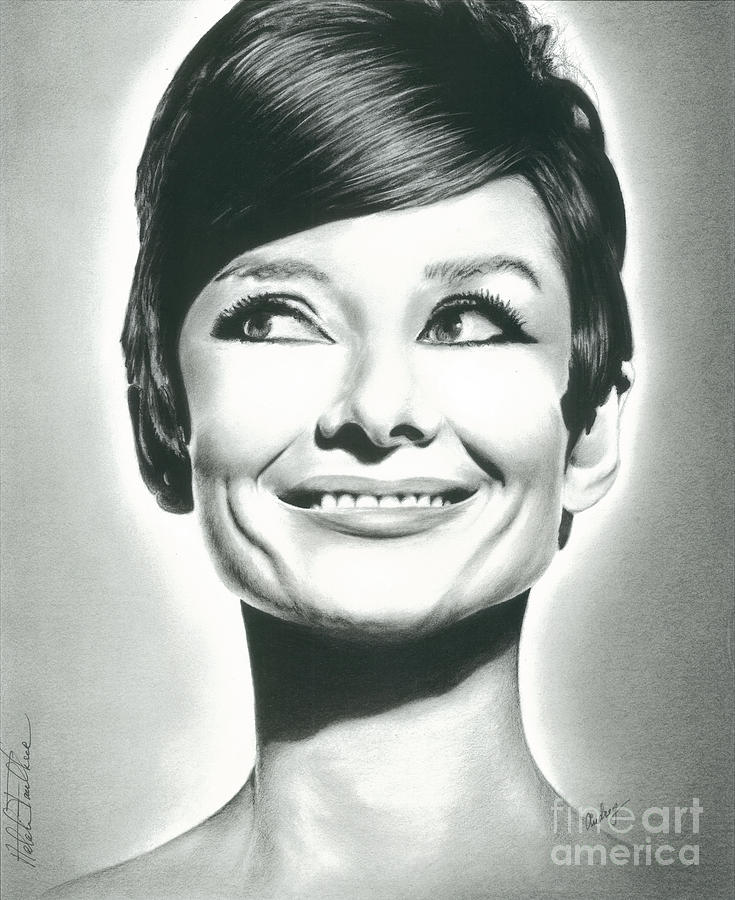 Audrey Drawing - Audrey Hepburn Smile Charcoal Pencil Drawing 2012 by N Faulkner