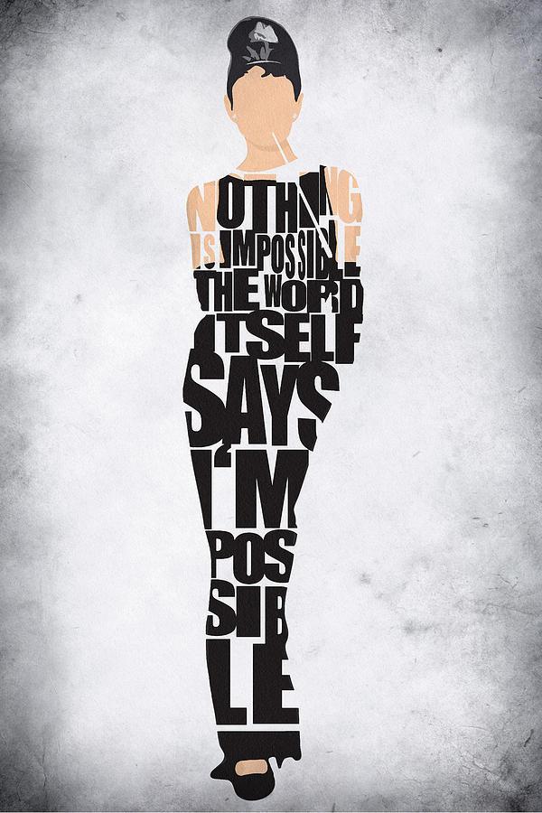 Audrey Hepburn Digital Art - Audrey Hepburn Typography Poster by Inspirowl Design