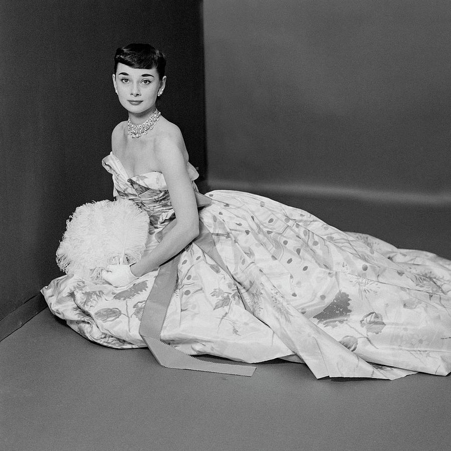 Audrey Hepburn Wearing An Adrian Dress Photograph by Richard Rutledge