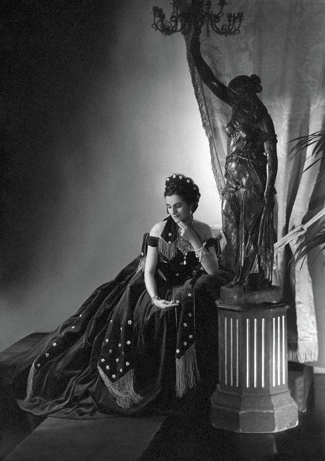 Audrey Parr Wearing A Velvet Dress Photograph by Horst P. Horst