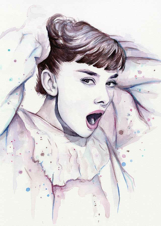 Audrey Painting - Audrey - Purple Scream by Olga Shvartsur