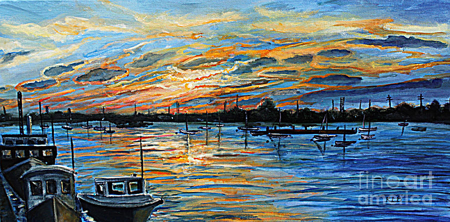 Woods Hole Painting - August Sunset In Woods Hole by Rita Brown