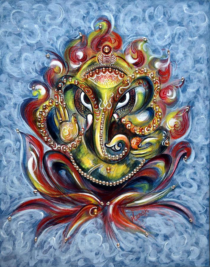 Aum Ganesha Painting By Harsh Malik