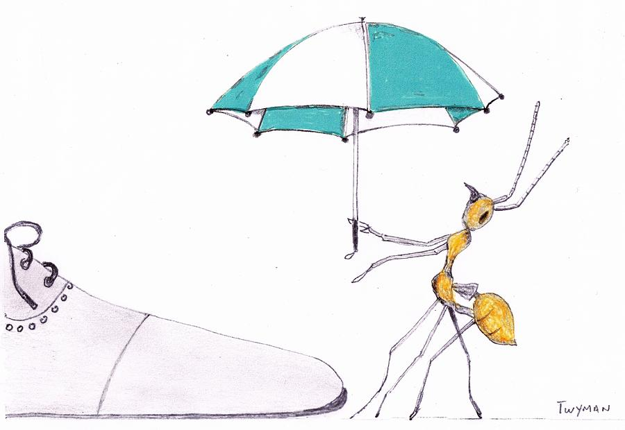 Ant Drawing - Ant with Umbrella by Dan Twyman