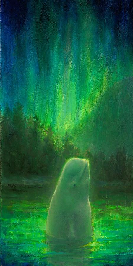 Beluga Painting - Aurora Beluga by Karen Whitworth