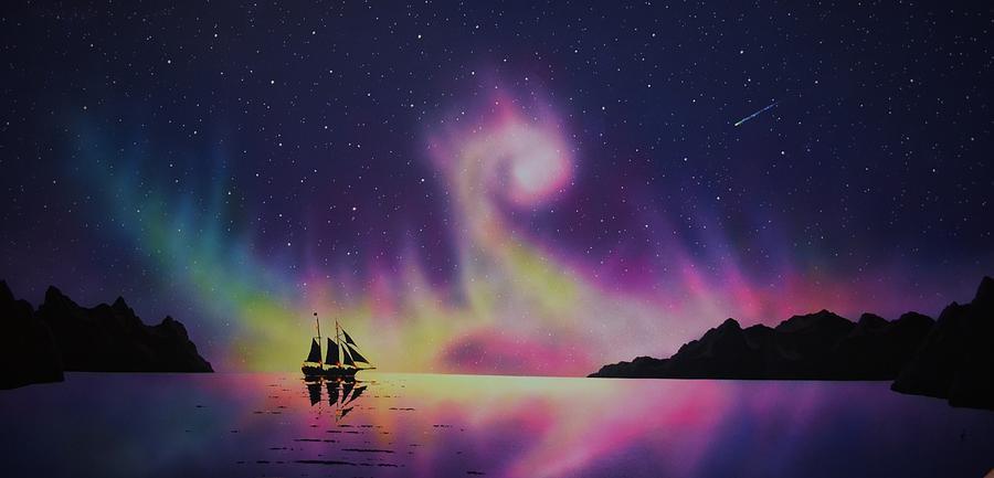 Aurora Borealis Painting - Aurora Borealis by ship 2 by Thomas Kolendra