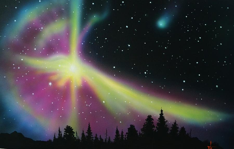 aurora borealis cross painting by thomas kolendra