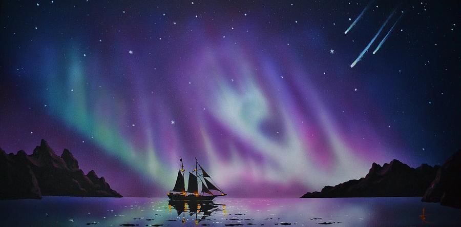 Aurora Borealis From A Ship Painting By Thomas Kolendra
