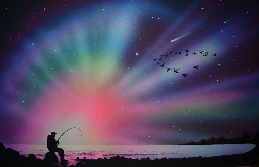 Aurora Borealis Painting - Aurora Borealis gone fishing by Thomas Kolendra