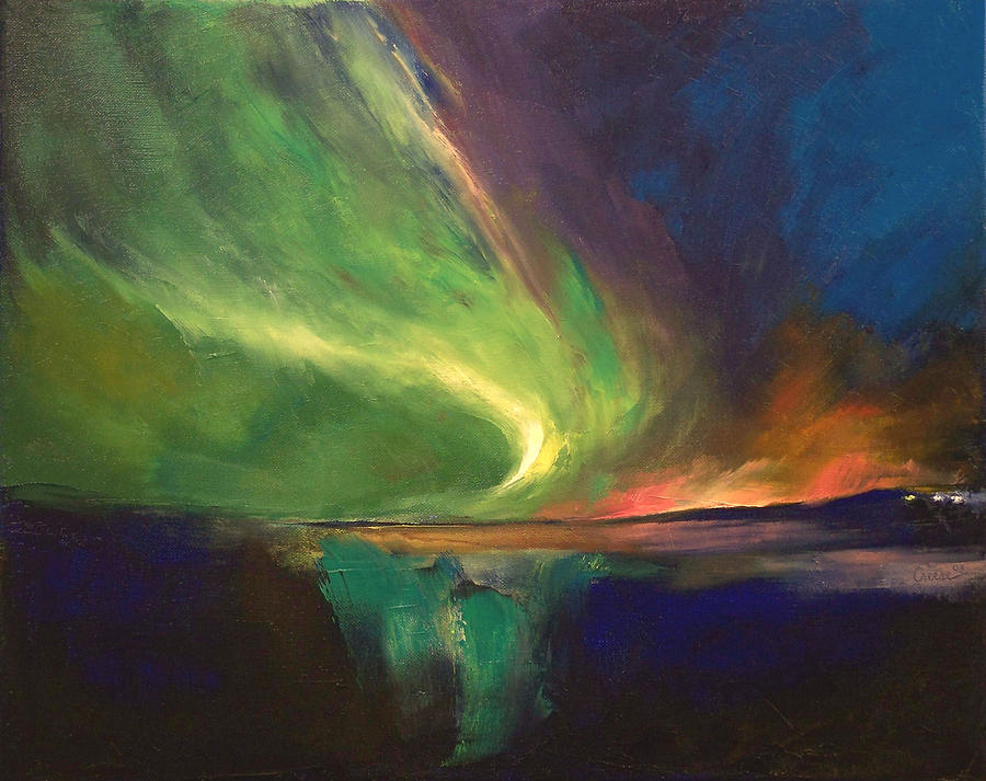 aurora borealis painting by michael creese