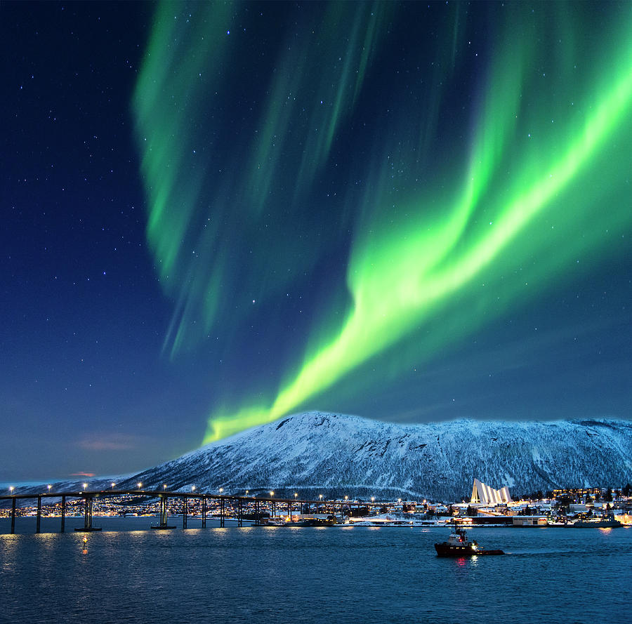 Aurora Borealis Over Tromso Port Photograph by Mike Hill