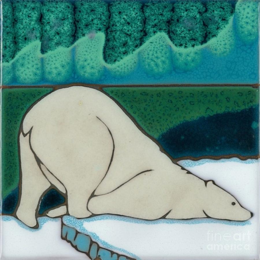 It Took Us More Than 50 Kiln Firings To Perfect The Aurora Borealis Sky You See Here But It Was Well Worth It When You See The Luscious Galactic Colors.i Love The Playful Way The Polar Bear Is Scratching Himself On The Ice. One Of My All Time Favorite Tile Designs. I Have Many More Wonderful Nature And Wildlife Designs On My Website :pacificbluetile.com Painting - Aurora Borealis Polar Bear by Elany  Prusa