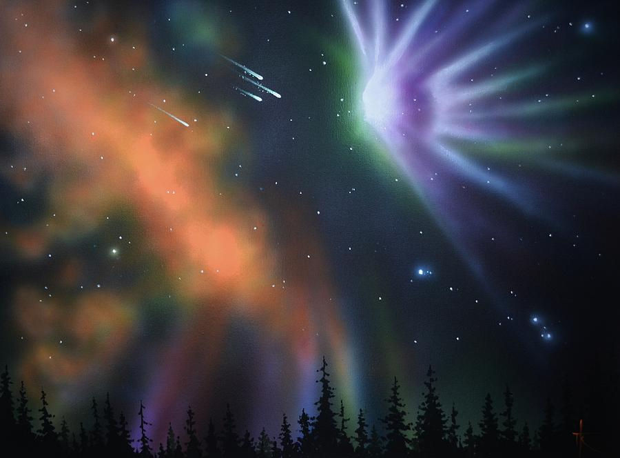 Aurora Borealis Painting - Aurora Borealis with 4 shooting stars by Thomas Kolendra