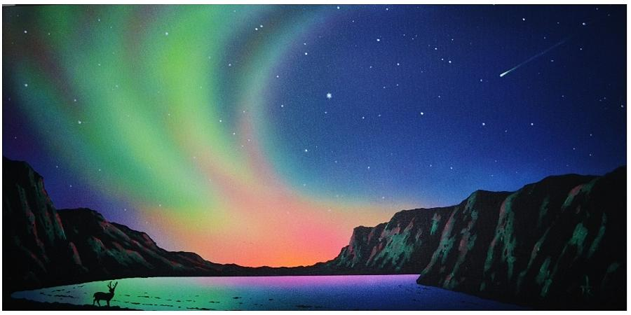 Aurora Borealis Painting - Aurora Borealis with Deer by Thomas Kolendra
