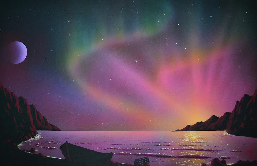 Aurora Borealis With Lobster Cage Painting by Thomas Kolendra