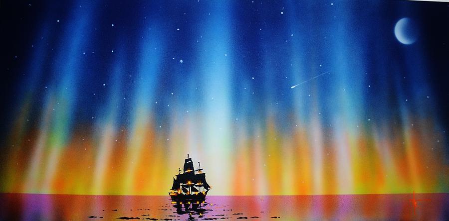 Aurora Borealis Painting - Aurora Borealis with tall ship by Thomas Kolendra