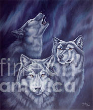 Wolf Painting - Aurora Wolves by Wendy Froshay