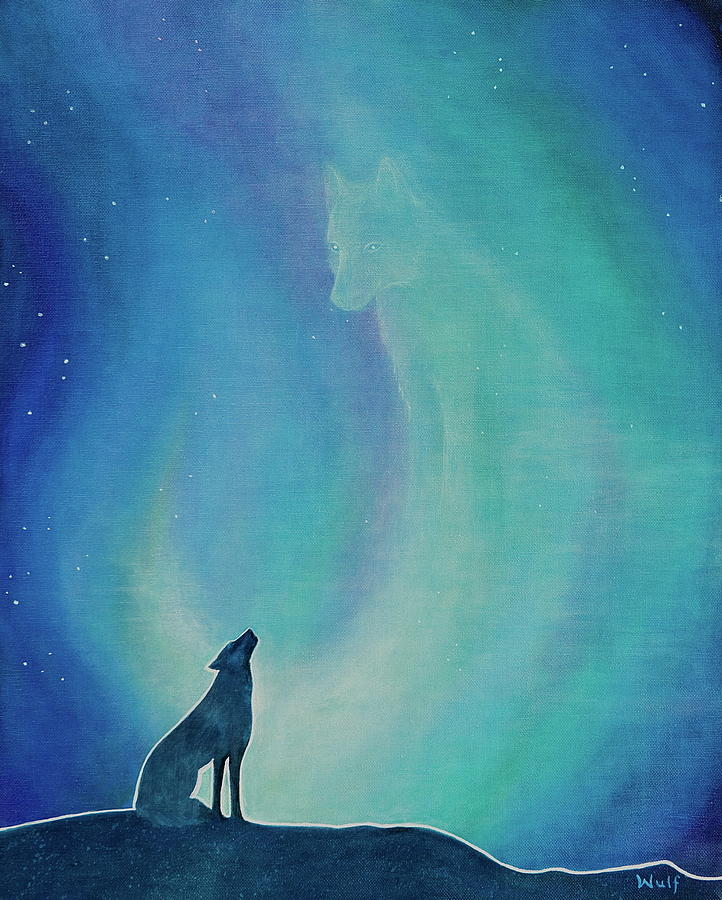 Wolf Painting - Aurorasong 1 by Bernadette Wulf