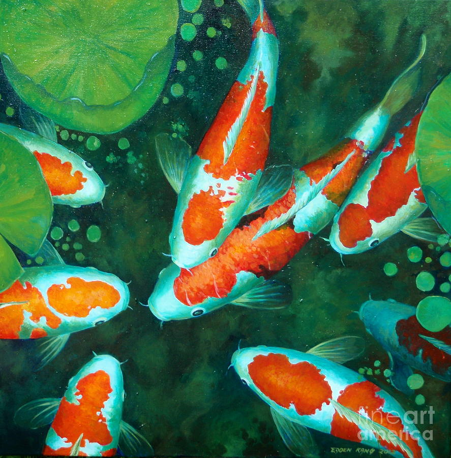 Auspicious koi pond 9 painting by edoen kang for Black and gold koi
