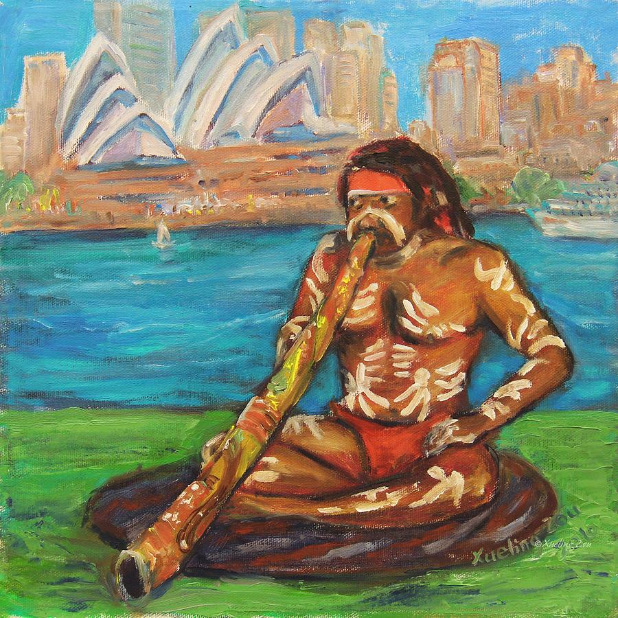 Didgeridoo Painting - Aussie Dream I by Xueling Zou
