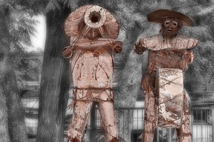 Sculpture Digital Art - Austin Musical Duo 3 by Linda Phelps