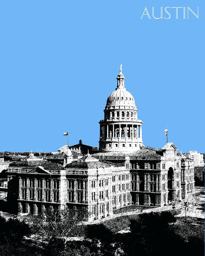 Architecture Digital Art - Austin Texas Capital - Sky Blue by DB Artist
