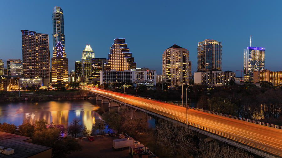 Horizontal Photograph - Austin, Texas Cityscape Evening Skyline by Panoramic Images