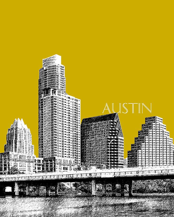 Architecture Digital Art - Austin Texas Skyline - Gold by DB Artist