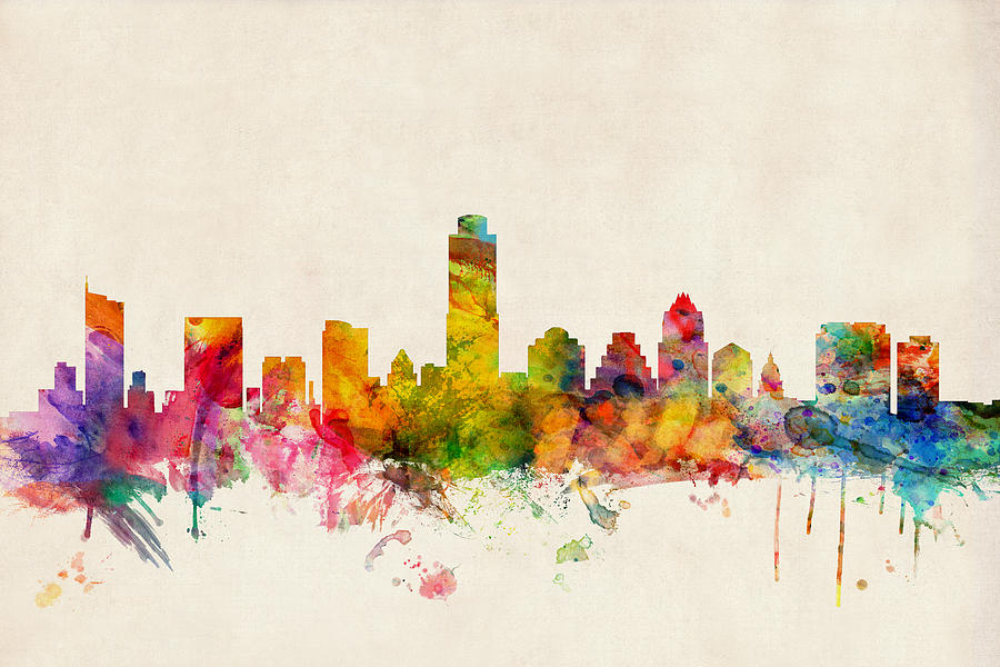 Watercolour Digital Art - Austin Texas Skyline by Michael Tompsett