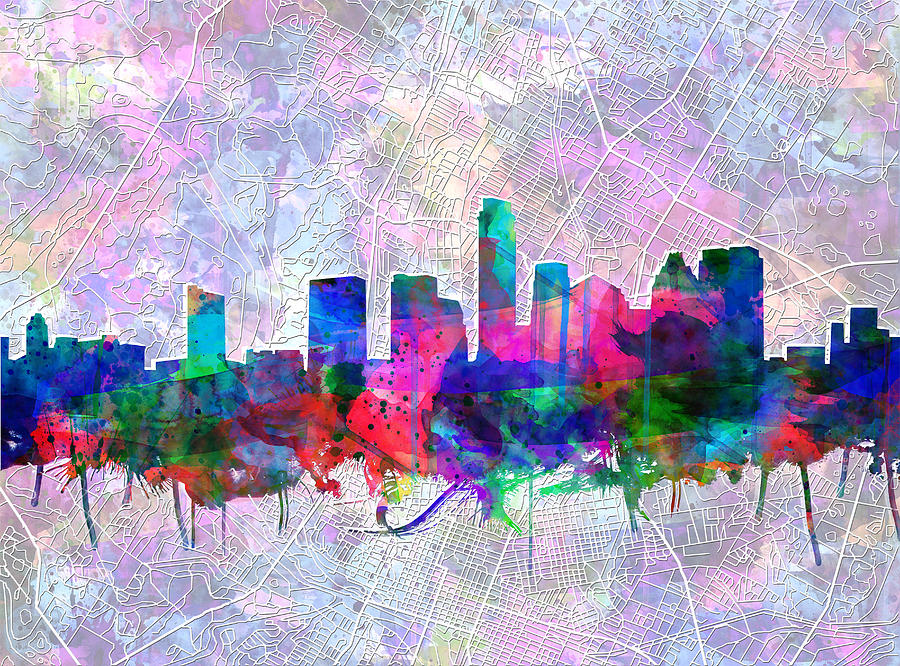 Austin Texas Painting - Austin Texas Skyline Watercolor 2 by Bekim M
