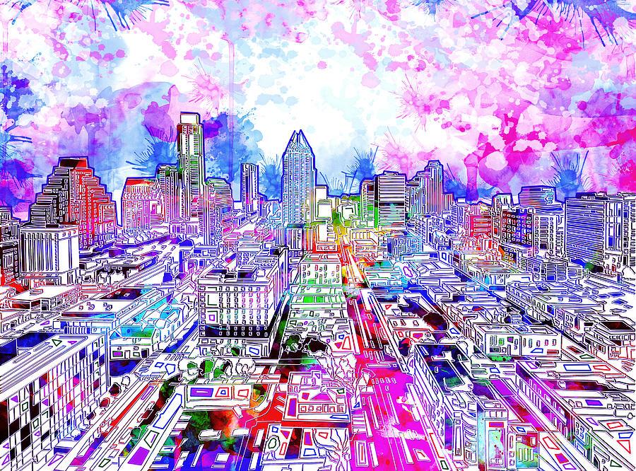 Austin Texas Painting - Austin Texas Watercolor Panorama by Bekim M