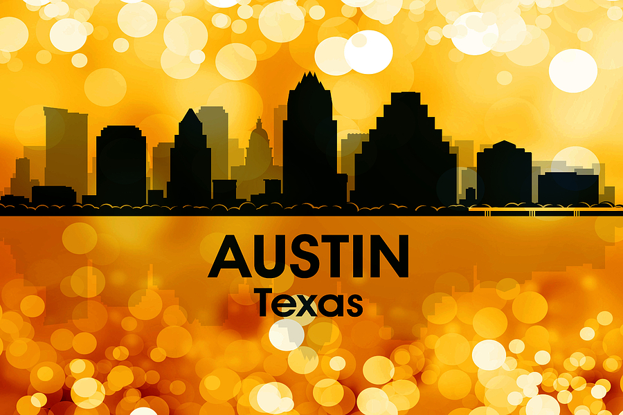 City Silhouette Mixed Media - Austin Tx 3 by Angelina Vick