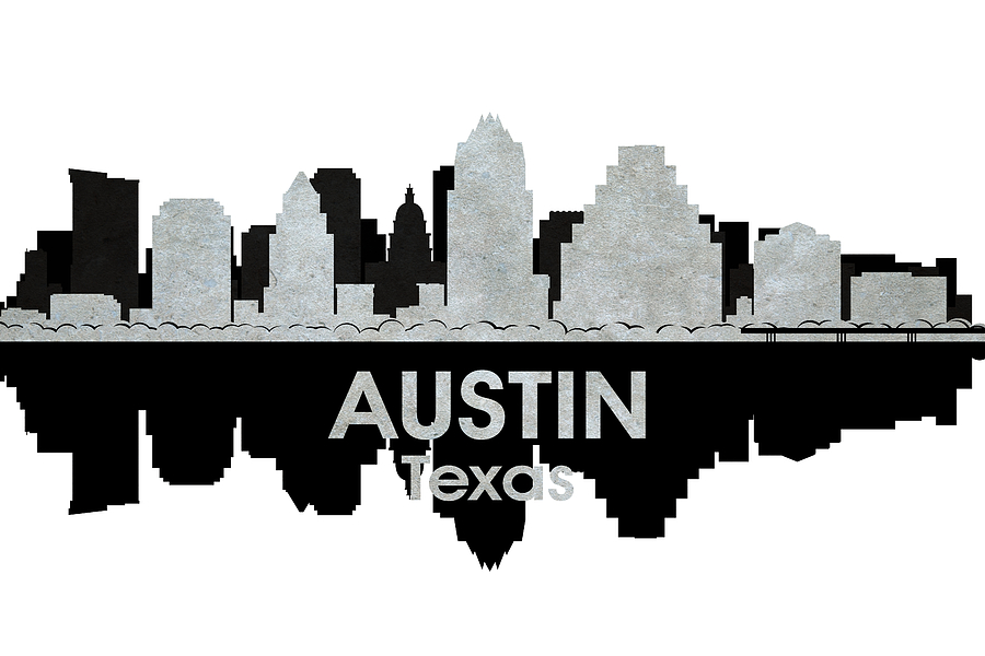 City Silhouette Mixed Media - Austin Tx 4 by Angelina Vick