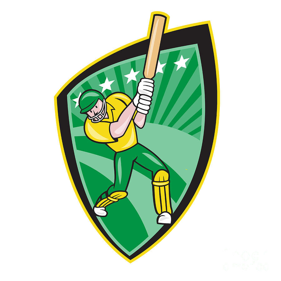 Australia Digital Art - Australia Cricket Player Batsman Batting Shield by Aloysius Patrimonio