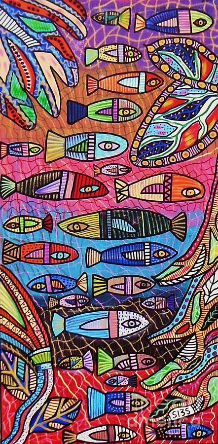 Australia Great Barrier Reef Painting by Sandra Silberzweig
