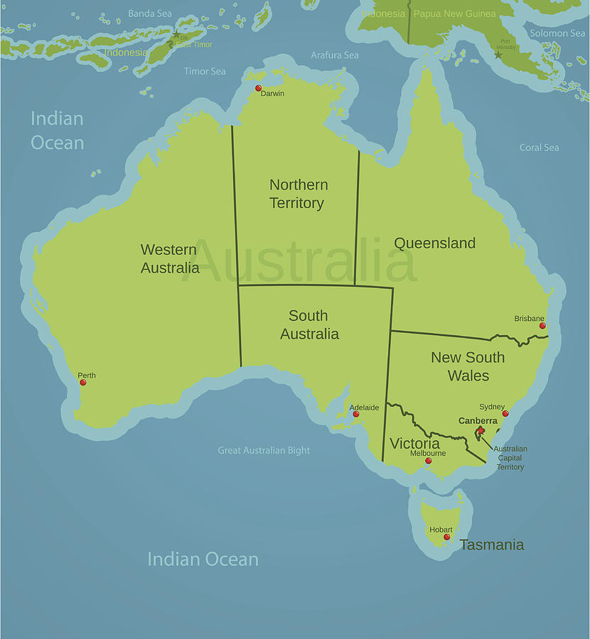Map Showing Australia.Australia Map Showing States By Illustrious