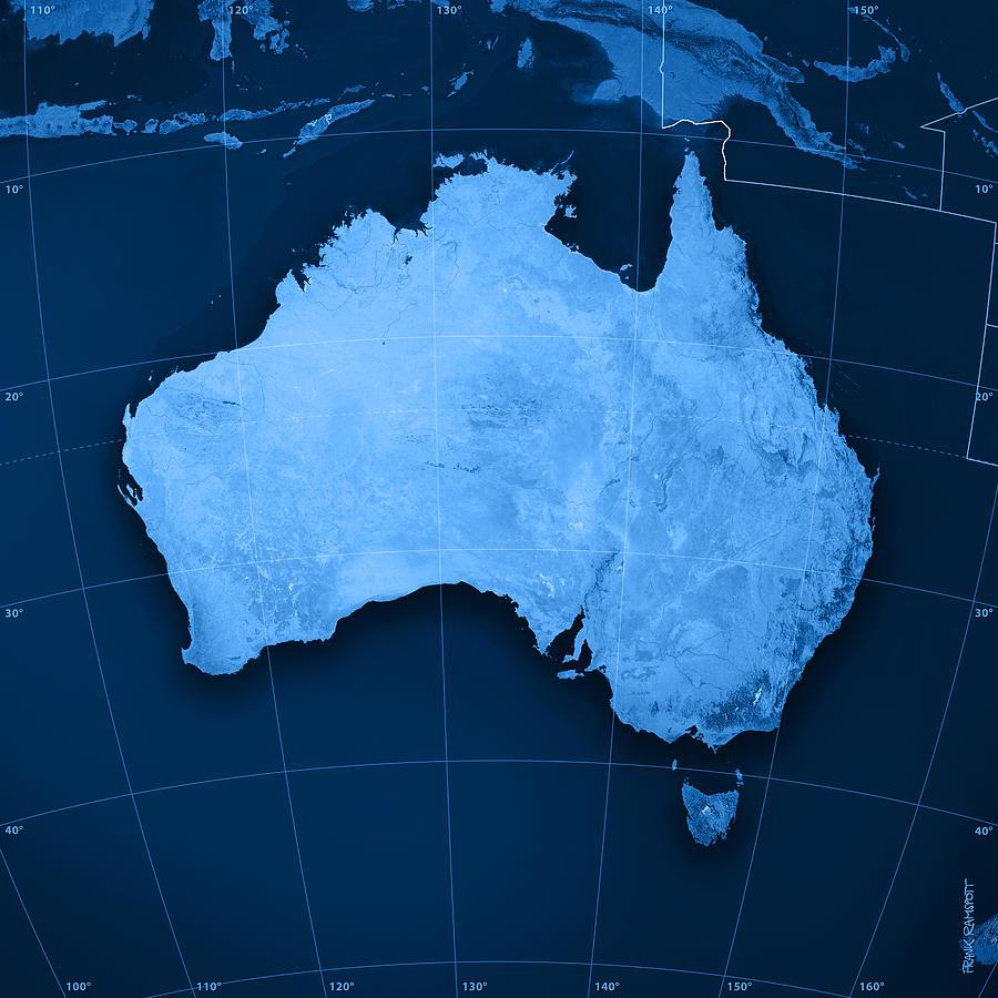 Australia Digital Art - Australia Topographic Map by Frank Ramspott