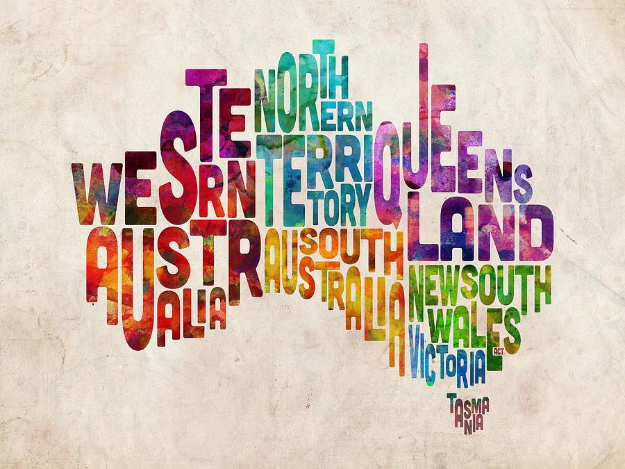 Australia Map Digital Art - Australia Typographic Text Map by Michael Tompsett