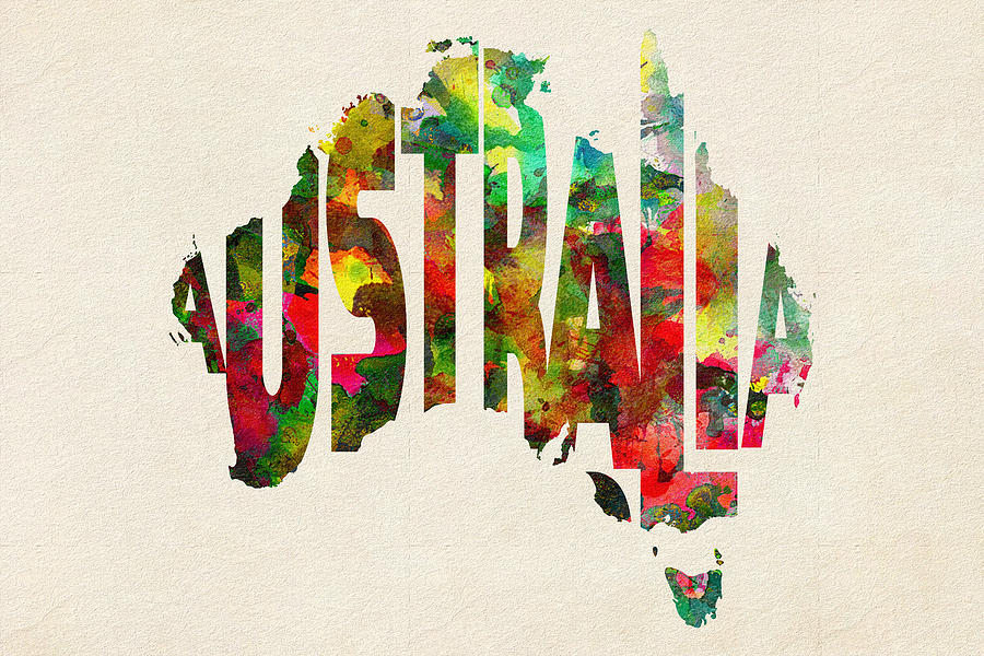 Australia Map Art.Australia Typographic Watercolor Map