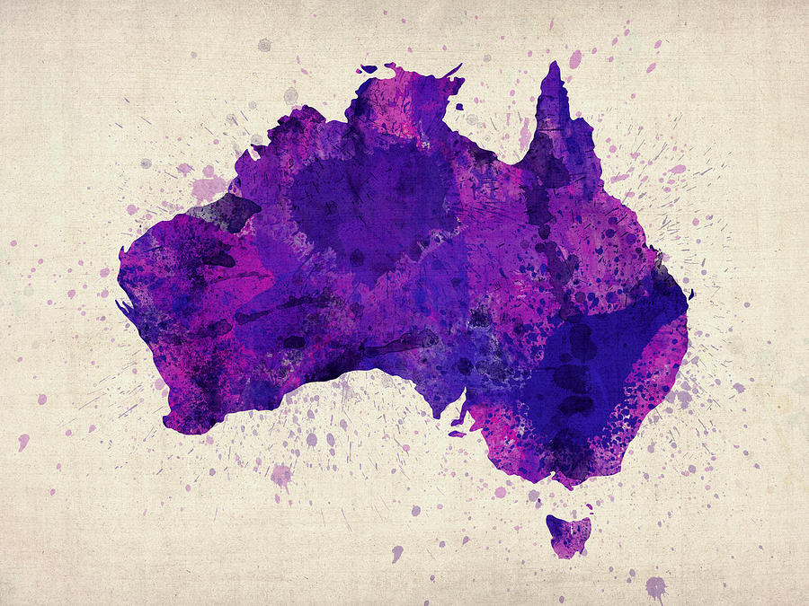 Australia Map Digital Art - Australia Watercolor Map Art by Michael Tompsett