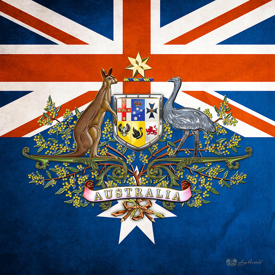 australian coat of arms and flag digital art by serge averbukh