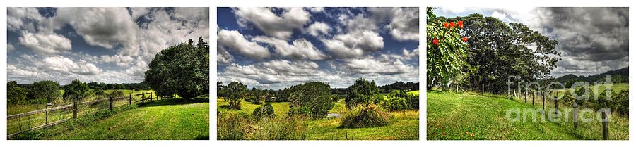 Cloudy Photograph - Australian Countryside - Floating Clouds Collage by Kaye Menner