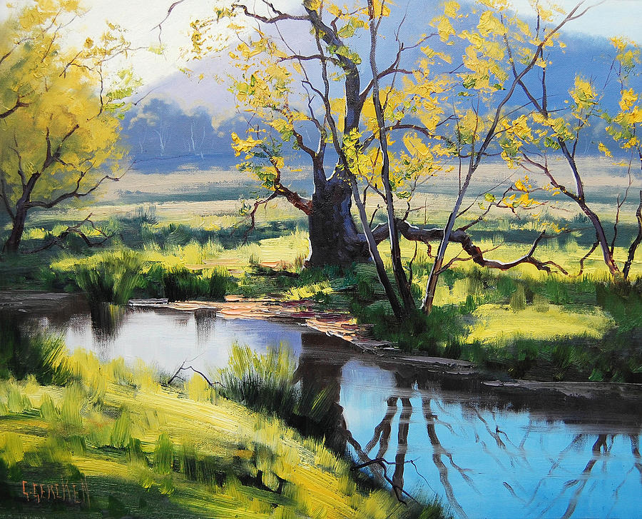 River Painting - Australian River Painting by Graham Gercken