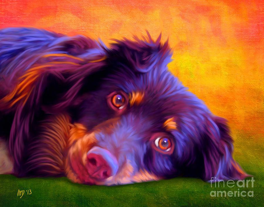 Dog Painting - Australian Shepherd Portrait by Iain McDonald