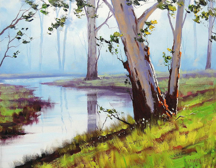 River Painting - Australian Trees Painting by Graham Gercken