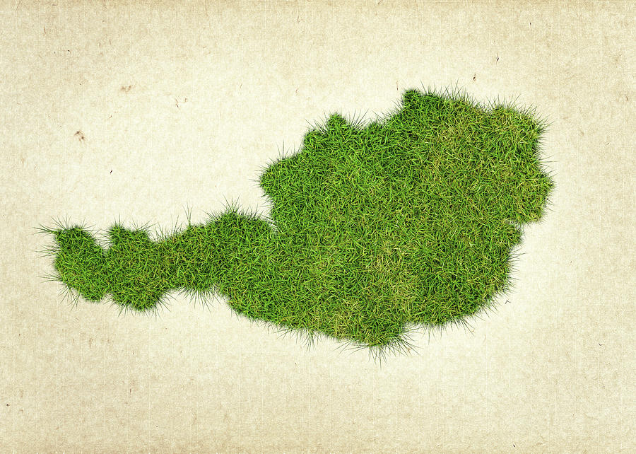 Map Of Austria Photograph - Austria Grass Map by Aged Pixel