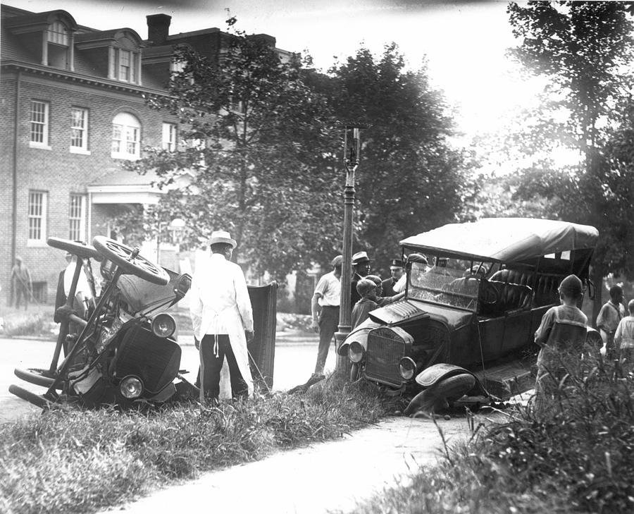 1910 Photograph - Auto Accident by Granger
