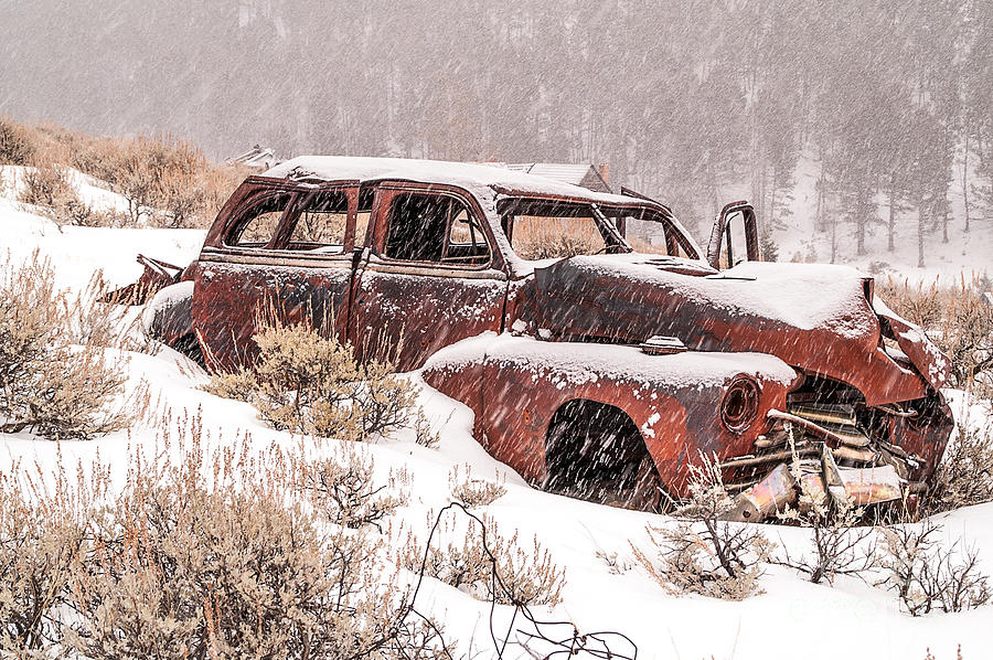 Abandoned Photograph - Auto In Snowstorm by Sue Smith