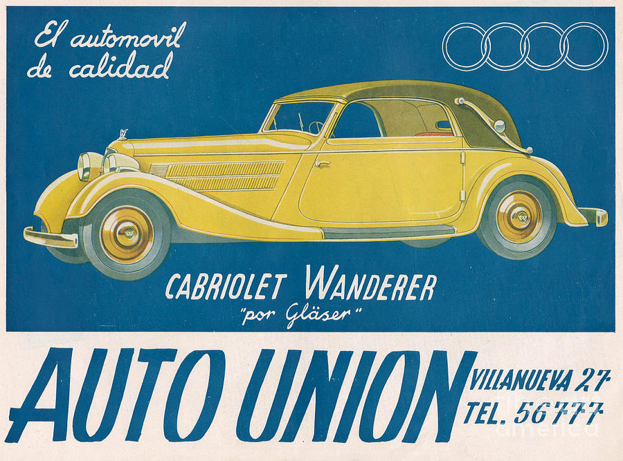 Adverts Drawing - Auto Union Audi 1930s Usa Cc Cars by The Advertising Archives